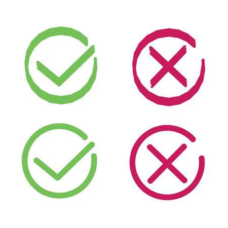 십자가와 진드기 표지판. 평면 스타일의 녹색 눈금 및 적십자 선 기호 아이콘. 예 및 아니오 기호