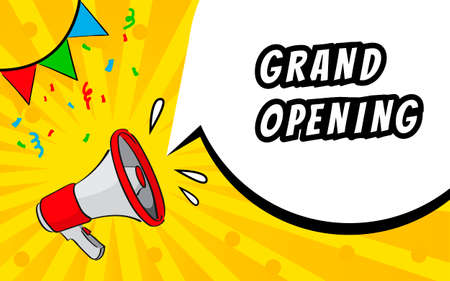 Grand opening banner, flyer. Marketing or banner background template with megaphone and speech bulb.