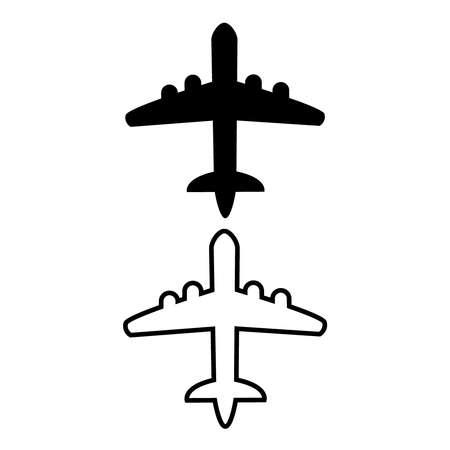 Plane icons set on white background, airplane vector Illustration.