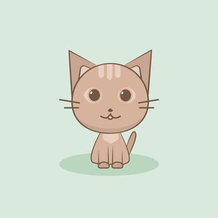 Cute cat vector illustration. Flat design.