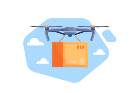 Drone with a box flying in the sky. Modern delivery of the package by flying drone. Express package delivery concept. Vector illustration Stock Illustratie