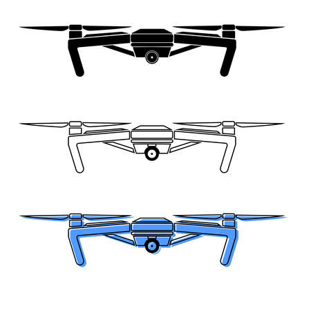 Set of drone icons in 3 different styles, outline, solid, colorful. Express package delivery concept. Vector illustration