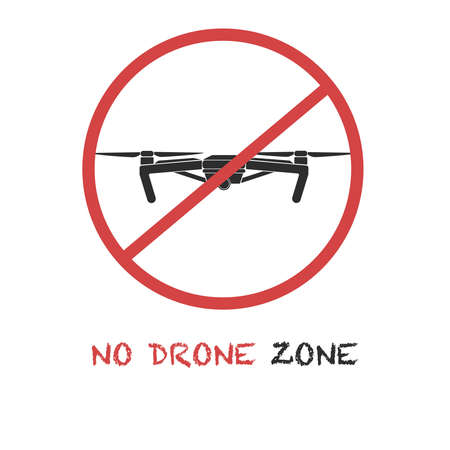 No drone zone sign. Drones are prohibited concept. Vector icon with the text Stock Illustratie