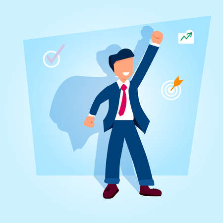businessman looking with hand up and  shadow. Happy, successful man and growth symbols, target achievement