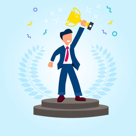 A man standing on the round pedestal with gold cup in hands. Trendy flat vector illustration on the blue background. Stock Illustratie