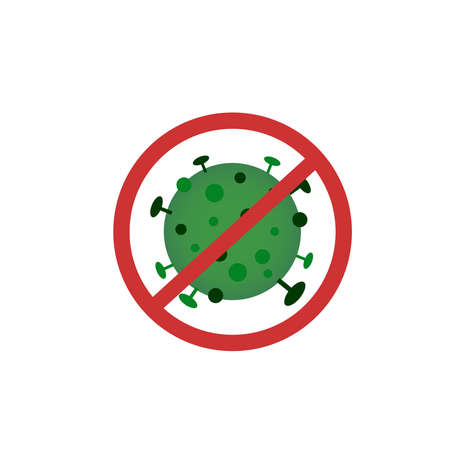 Fight the coronavirus concept icon. Stop sign of the virus. Virus icon isolated on the white background
