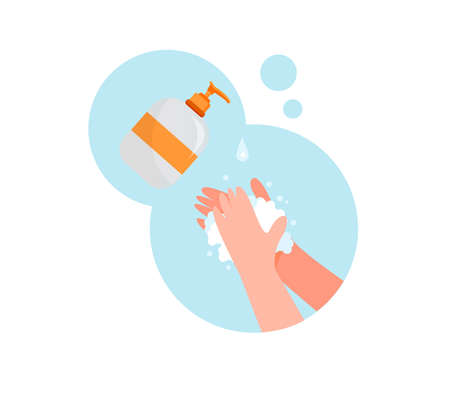 Wash hands with soap illustration. Palm to palm round isolated on the white background