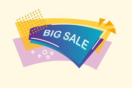 Big sale banner template design. Vector illustration. Big sale wording on the blue brochure. Geometric figures background.