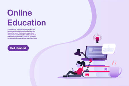 Online education banner. Home study concept. The woman sitting with a tablet. A cup of coffee and books with laptop and light bulb. Banner with text for website, brochure, or an online advertisement.