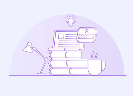 Online education banner. Home study concept. A cup of coffee and books with a laptop and light bulb.