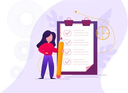 Businesswoman with a giant pencil in her hands nearby marked checklist on a clipboard paper. Successful completion of business tasks. Vector illustration Stock Illustratie
