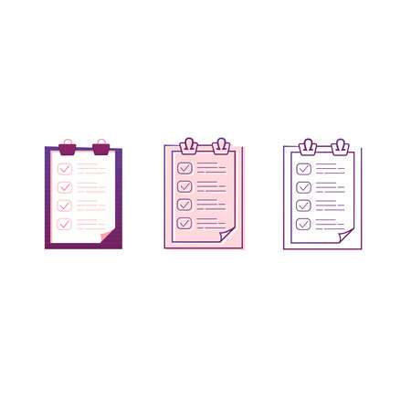 Clipboard line icon set. Vector illustration. Clipboard icons in the modern line style.