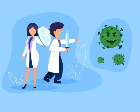 Pair of doctors are fighting coronavirus. Bad virus attacks people. Green, round, angry virus Stock Illustratie