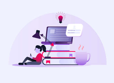 Online education. Home study concept. The woman sitting with a tablet. A cup of coffee and books with a laptop and a light bulb. Stock Illustratie