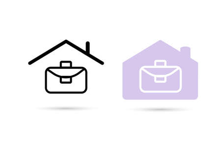Working from a home icon. Work at home. Line icon. Freelance symbol. Purple home office icon