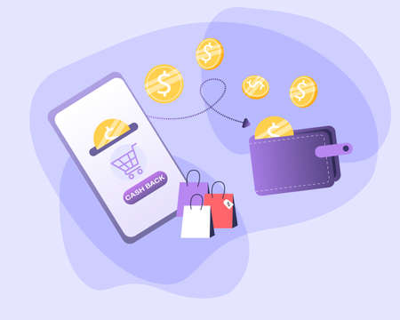 Cashback concept vector illustration. Saving money. Money refund. Pile coins and phone with button cashback.