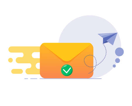 Email sent concept. Email marketing campaign. New email message. Envelope flying modern icon with green check mark iconEmail sent concept. Email marketing campaign. New email message. Envelope flying modern icon with green check mark icon