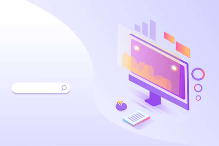Online Marketing banner. Search bar and monitor with graphics. Concept of strategy, analytics, successful result and profit growth. Stock Illustratie