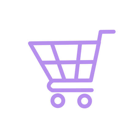 An icon of a shopping trolley isolated on the white background. Purple trolley icon could be used for the website, banner or ad.