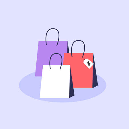 Set of colorful shopping bags Isolated on the purple background