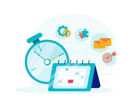 Time management concept planning, organization, working time. Clock, calendar, emails, puzzles pieces and targets icons isolated on the white background Stock Illustratie