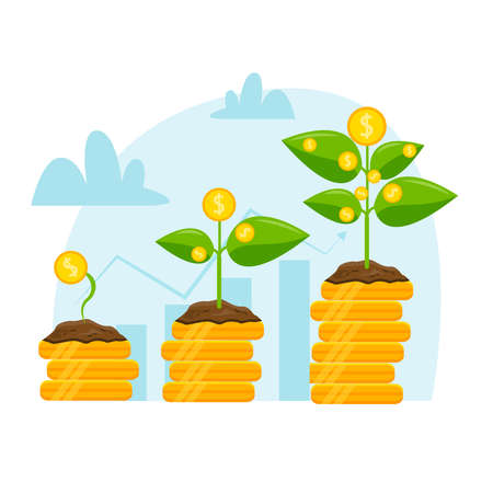 Money growth illustration, gold coins on a white background. Stock Illustratie