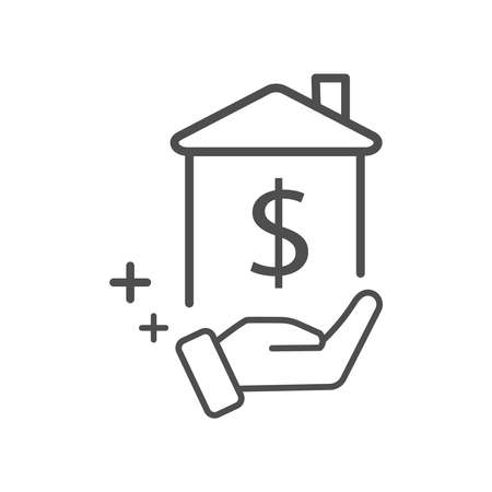 A house with a dollar sign in hand icon vector for investment in real estate concept Stock Illustratie