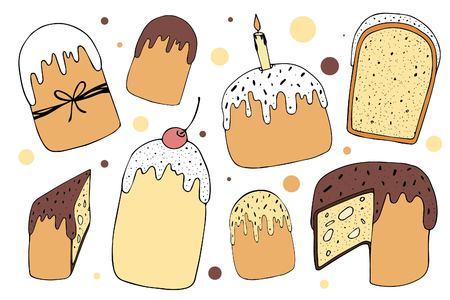 Ensemble d'illustartions de gâteaux de Pâques dessinés à la main de vecteur isolé sur fond blanc