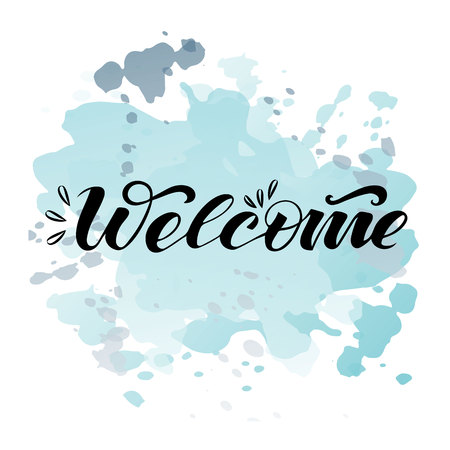 Vector text welcome on watercolor background