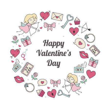 Valentines day stylish vector illustration design fpr postcards