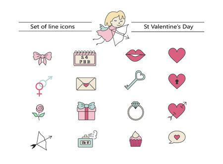 Set of cute icons for Valentines Day