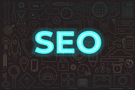 SEO icons set. Perfect line icons for seo, business and social media marketing concepts with neon text SEO Illustration