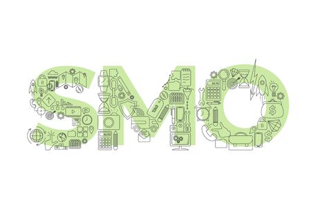 Vector creative illustration of SMO word lettering typography with line icons on white background. Social media optimazation concept. Thin line design Illustration