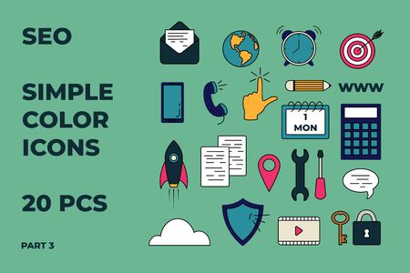 SEO icons set. Simple color icons for seo, business and social media marketing concepts