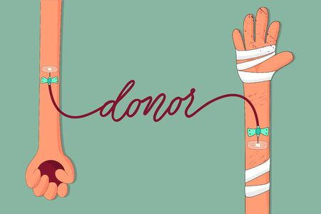 Blood donation concept vector illustration. Donor's and recipient's hands connected with blood tube. Cartoon illustartion. Illustration
