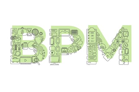 Vector creative illustration of BPM word lettering typography with line icons on white background. Business process management concept. Vecteurs
