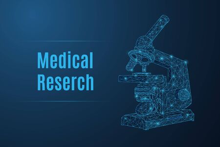 Futuristic glowing low polygonal light microscope made of stars, lines, dots, triangles isolated on dark blue background. Medical research concept. Modern wireframe design vector illustration.