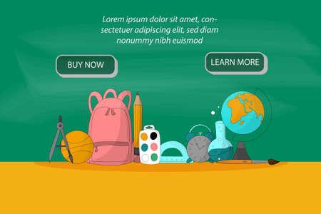Back to school design vector set. Landing page design with school stationery. Cartoon style illustrations. Online shop conccept. Autumn sale concept. Ilustrace