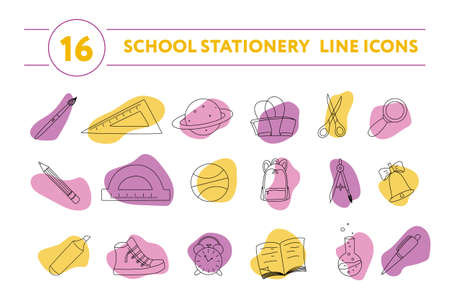 Back to school design vector line icons set. School stationery line icons isolated on white background. Line illustrations with modern colorful blots. Memphis style. Education concept. Ilustrace