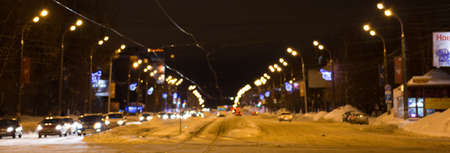 Night sity street at winter