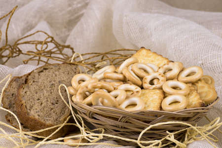 bread,bagel on the linen background