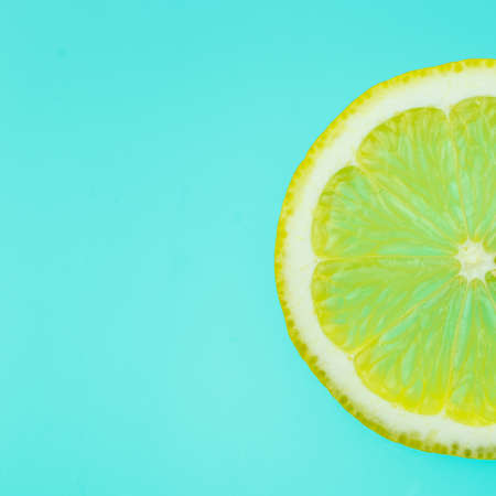 orange slice on azure background