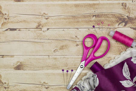 a set of tools for tailor background Stock Photo