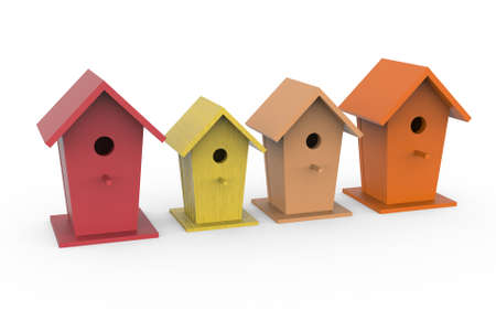Four colorful birdhouses, 3d render. Bird boxes isolated on a white background.