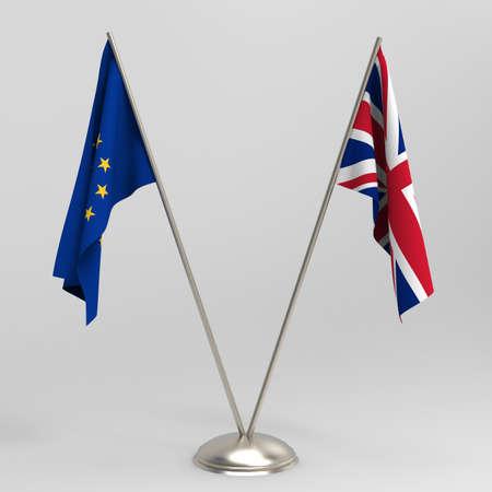 Brexit concept. British flag and EU flag on a gray background, 3d render. Reklamní fotografie