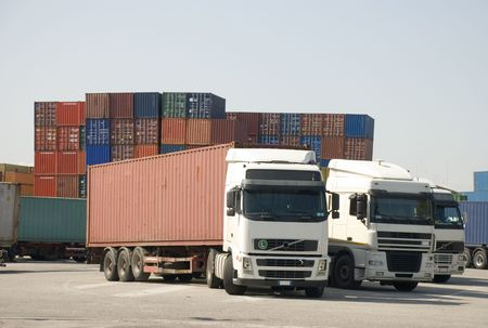 intermodal: Trucks and freight containers at a logistic centre