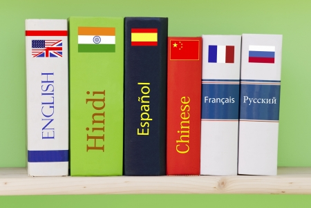 Books dictionaries of different languages