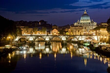 st peter s basilica: Picturesque view of St  Peter s Basilica from river Tiber