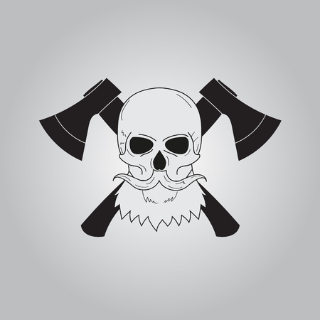 the ax: ax,skull and beard icon