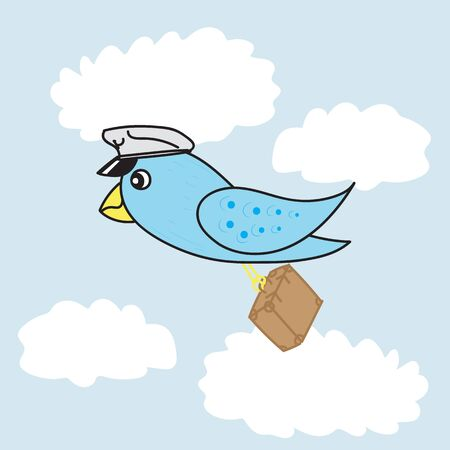 migrating birds: Blue bird in the sky fly to vacation